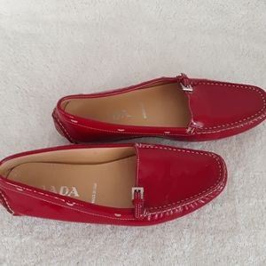 PRADA Womens Loafers Buckle, Topstitch Red…